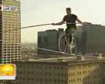 自転車で綱渡り世界記録