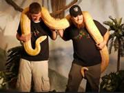 巨大ヘビの尻尾が男のアソコをムズムズ