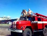 消防車の屋根に乗ってたら・・・