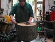 切株で手作りランプシェード