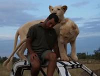 ライオンと仲良しな男性