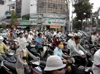 ベトナム ホーチミンでのバイク渋滞