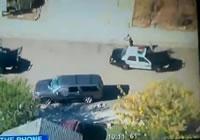 警官の囲まれて射殺される銀行強盗
